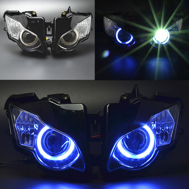 Motorcycle Front Headlight Fully Assembled Projector Headlight Assembly HID Angel Eyes For Honda CBR1000RR CBR 1000RR 2008 -2011
