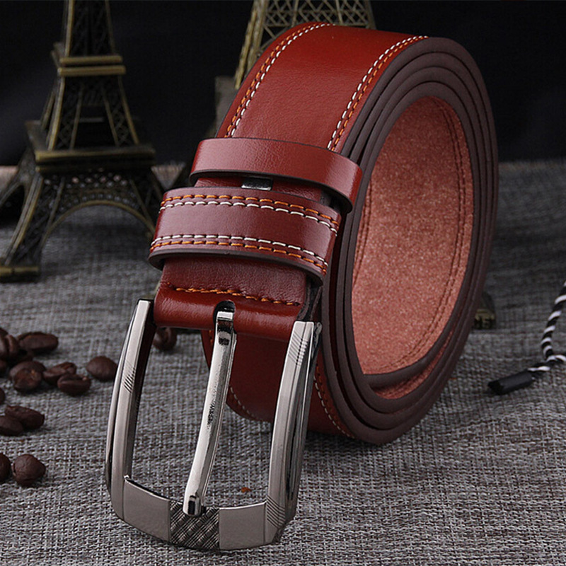 Man Belt Double Car Line VINTAGE Trouser Belt Waistband High Quality Alloy Button Waist Belts Luxury Valentines Gift Matagorda