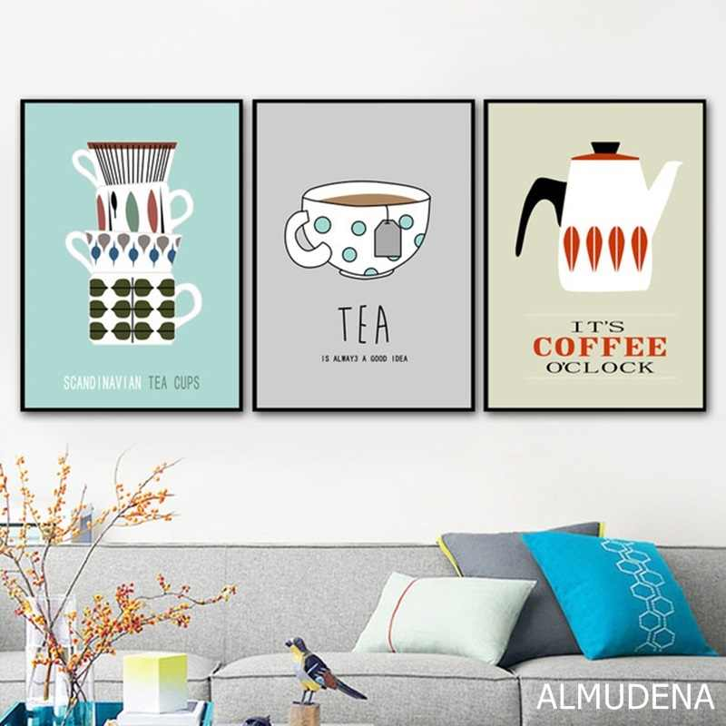 Coffee Tea Cups Cartoon Canvas Painting Modern Home Decoration Art Nordic Posters and Prints Modular Wall Pictures for Kitchen