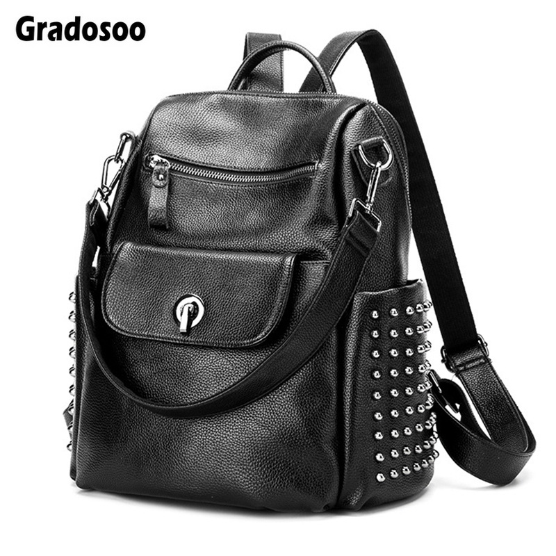 Gradosoo Rivet Backpack Women Luxury Punk Schoolbag Female Multifunctional Shoulder Bags Leather Travel LBF617