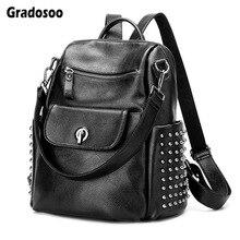Gradosoo Rivet Backpack Women Luxury Punk Schoolbag Female Multifunctional Shoulder Bags Leather Travel LBF617