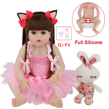 48cm Reborn Baby Doll Toddler Girl Pink Princess Soft Full Body Silicone Babies Dolls Lifelike Realistic Bonecas Toys For Kids 48cm reborn baby doll toddler girl pink princess soft full body silicone babies dolls lifelike realistic bonecas toys for kids
