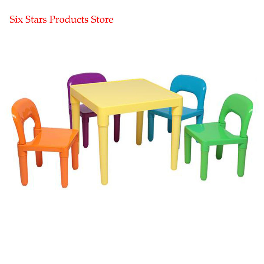 Set Of Plastic Table And Chair For Children One Desk And Four Chairs (50x50x46cm) For Kindergarten And Home