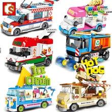 Conjuntos de veículos da cidade, veículo da cidade, manequim, pizza, van, sorvete, caminhão, blocos de construção, amigos, rua, ambulância, carro, figura, brinquedo