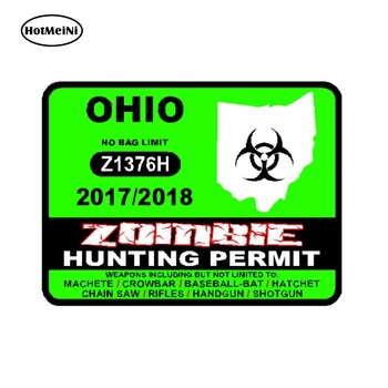 HotMeiNi 8cm x 13cm Lnterest Car Sticker OHIO U S Zombie Hunting Permit 2017 Outbreak Response Team Reflective Decal image