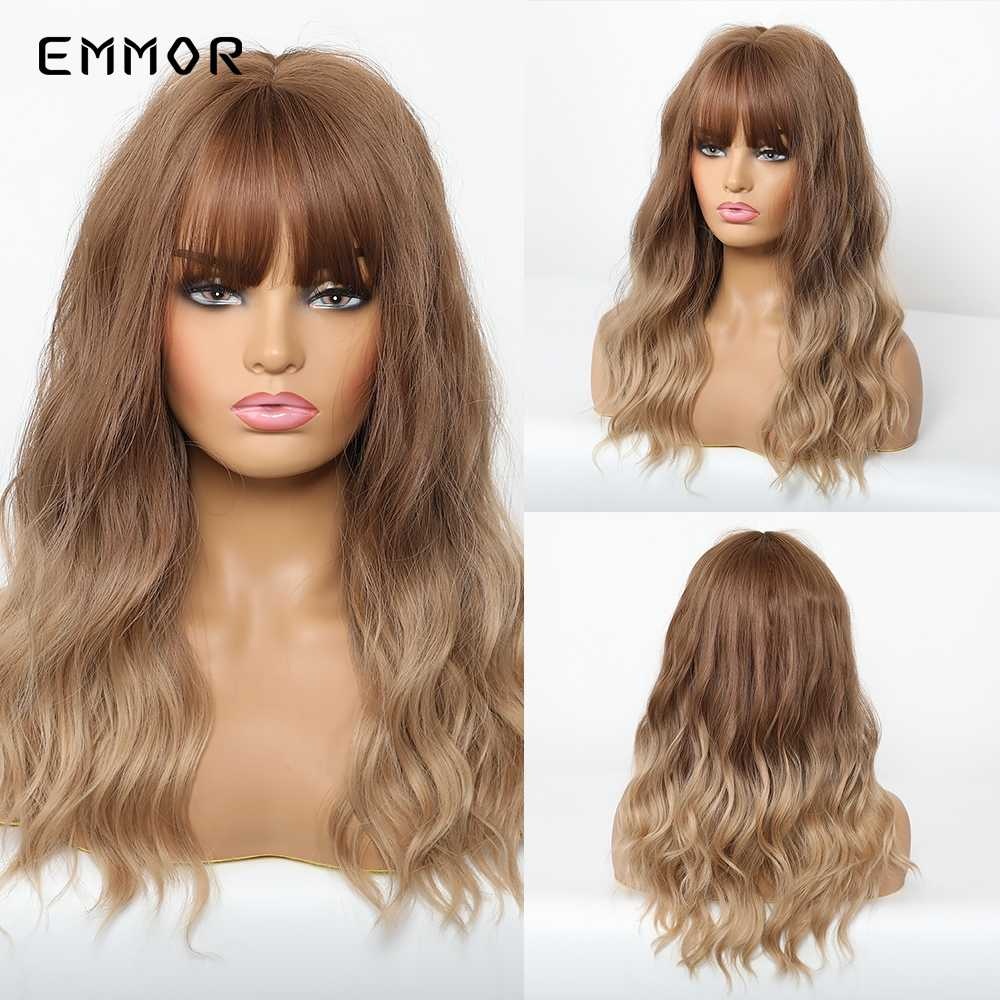 Emmor Bruin Tot Light Golden Blond Pruiken Met Pony Lange Losse Golf Ombre Synthetisch Haar Natuurlijke Pruik Voor Vrouwen Cosplay dagelijks Gebruik