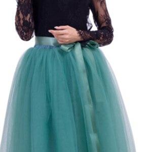 Image 5 - נשים של 7 שכבות 100CM ארוך טוטו טול חצאית אורך קומת קו טול מסיבת ערב חצאית חתונה כדור שמלת חצאית