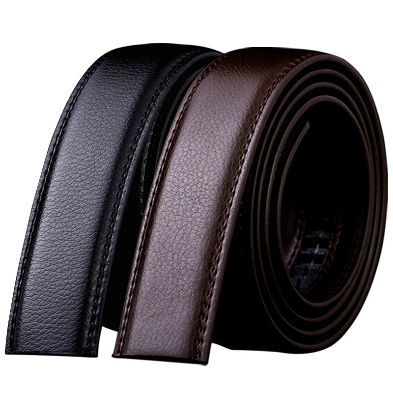 New 3.5cm Wide Genuine Leather Automatic Belt Body No Buckle Strap Without Buckle Belts Men High Quality Male Belts 8002