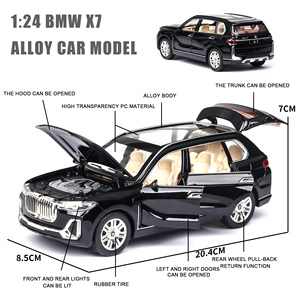 Image 4 - 1:24 NEW BWM X7 Alloy Car Model Diecasts Toy Vehicles Simulation Light Sound Pull Back Childrens Toy Collectibles Free Shipping
