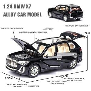 Image 4 - 1:24 nowy BWM X7 aluminiowy Model samochodu Diecasts pojazdy zabawkowe symulacja światła dźwięk wycofać zabawki dla dzieci kolekcje darmowa wysyłka