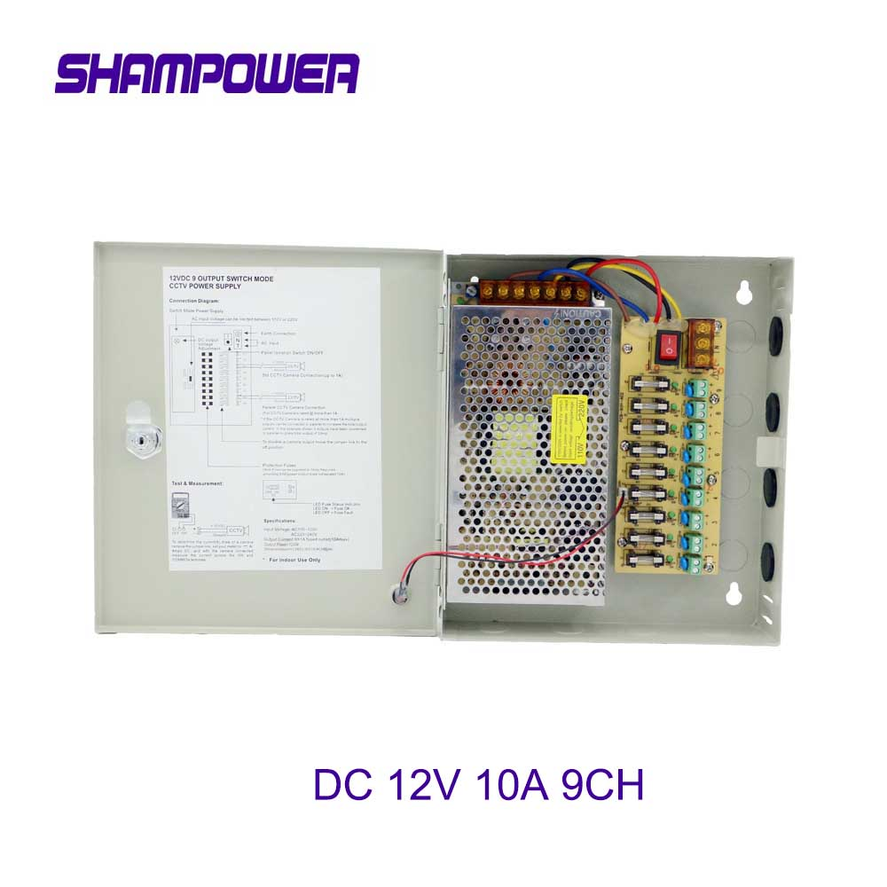 9 Channels DC 12V 10A 9CH Channel Switch Power Supply Box for CCTV Camera Security Surveillance - CCTV Security Accessories