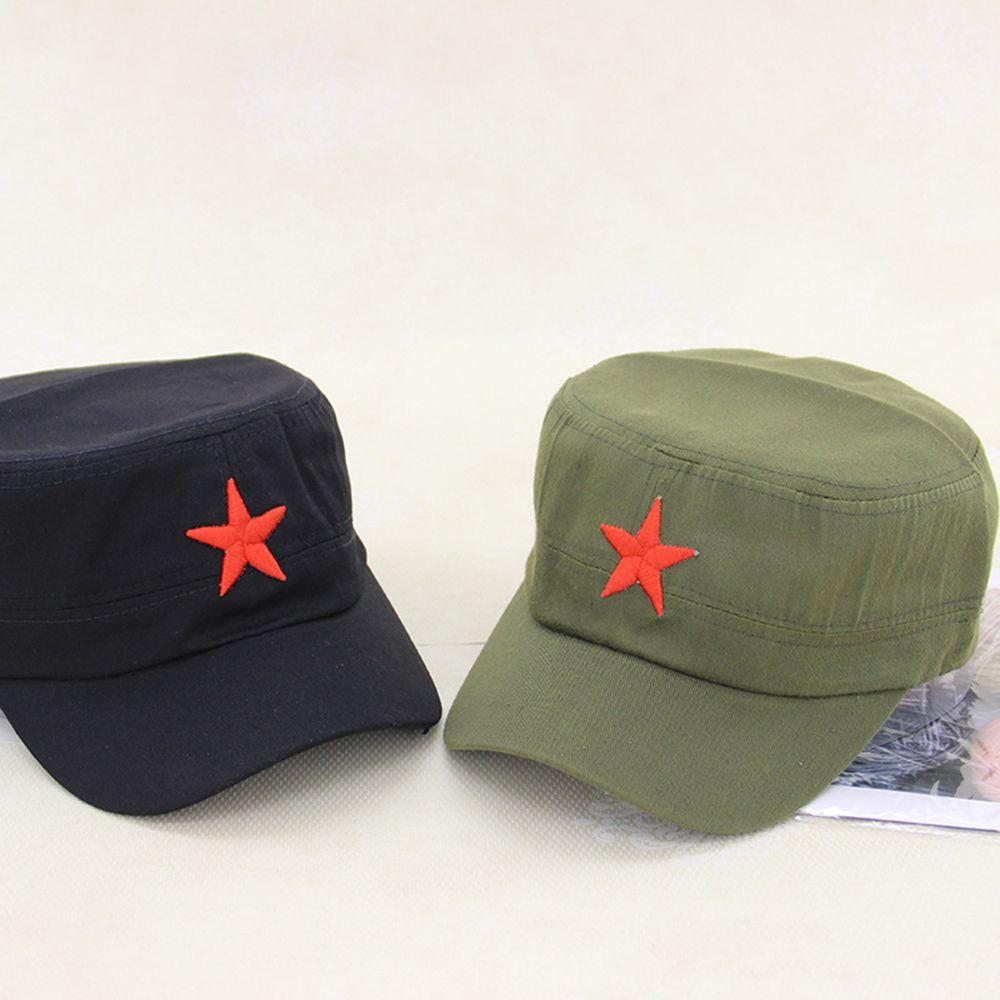Nuevo Presidente de China Mao Estrella Roja patrón plano de algodón de la tela del ejército sombrero del ejército comunista gorra táctica al aire libre deporte sombrero