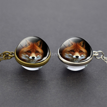 Fox Photo Tibet Silver / Antique Bronze Chain Double Side Glass Ball Pendent Necklace Jewelry Cute Animal Pendant Gifts