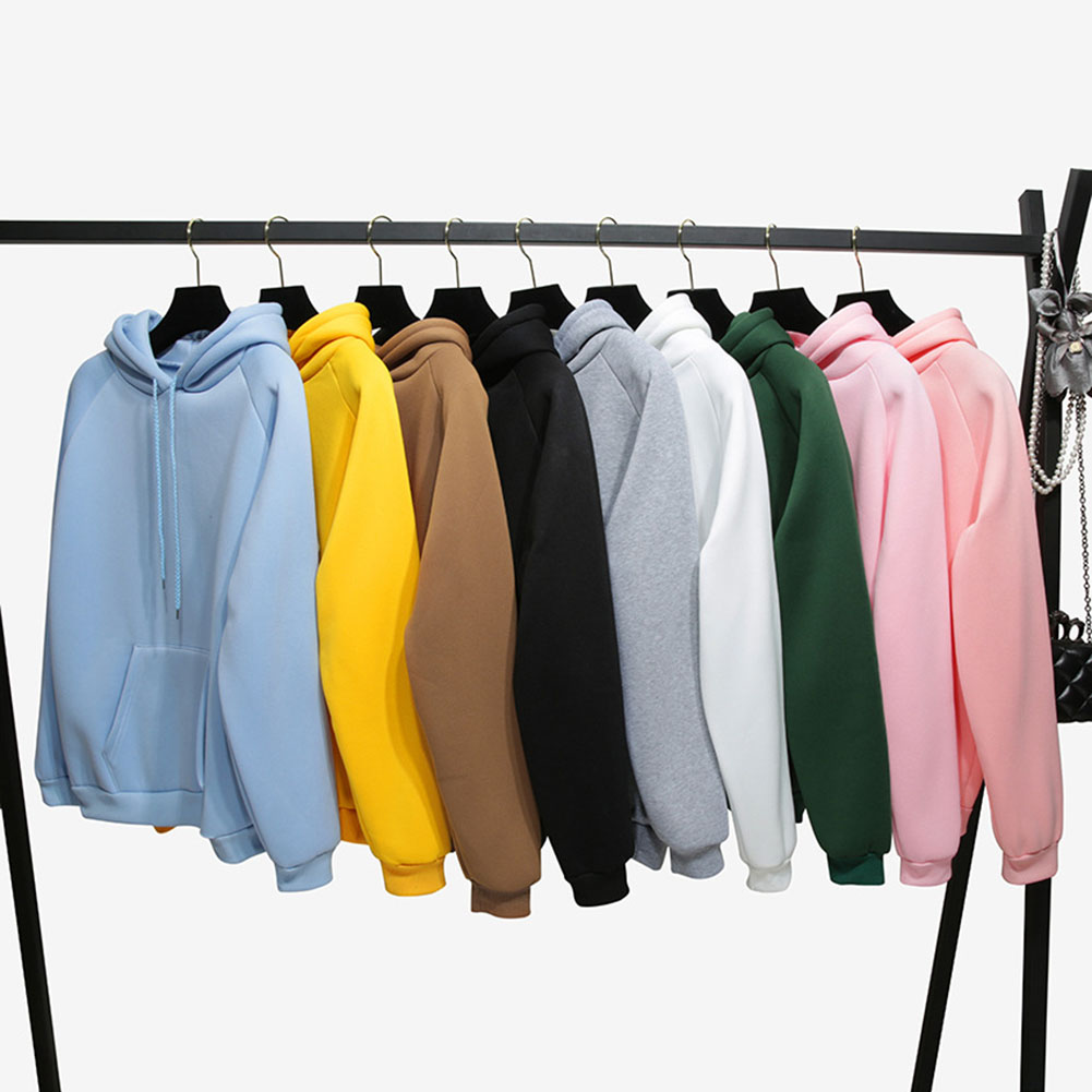 Warm Solid Color Hoodies Fashion Winter Sweatshirt Long Sleeve Hoodie Pullover Tops Blouse Soild Sweatshirts with Pocket