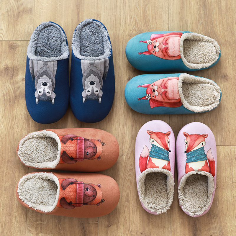 Adult Galaxy Wolf House Slippers Comfort Winter Warm House Slipper Indoor Slip Shoes for men