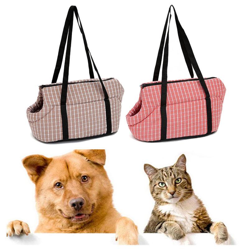 Полосатые сумки для переноски собак и кошек, дорожные клетчатые сумки на плечо для щенков и кошек, дышащие мешки для переноски собак, 1 шт.