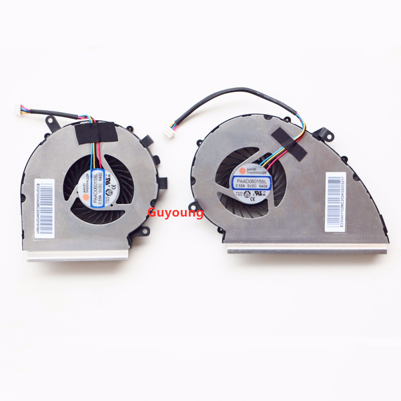 CPU GPU COOLING FAN for MSI GE72VR GP72VR COOLING FAN COOLER PAAD06015SL N402 N404 DC 5V 0.55A