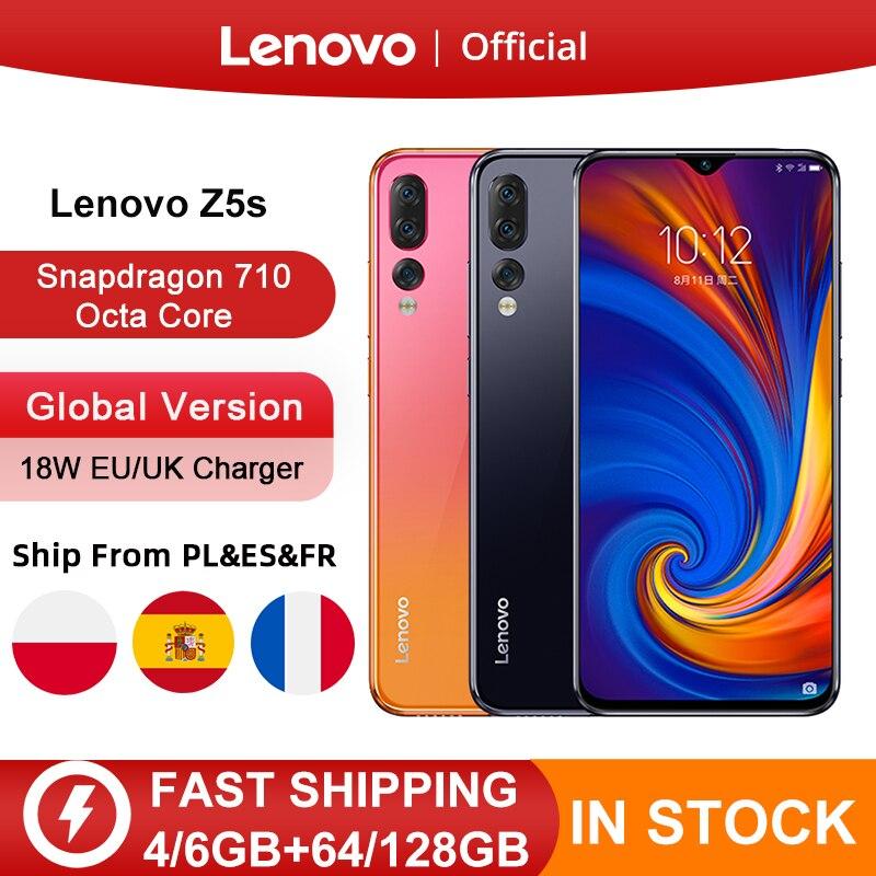 글로벌 버전 레노버 Z5s Z5 S 스마트 폰 금어초 710 옥타 코어 페이스 ID 6.3 인치 안드로이드 P 트리플 리어 카메라 스마트 폰