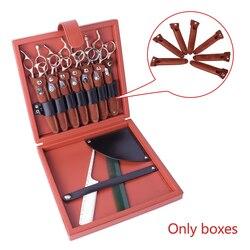 Soporte de almacenamiento profesional caja de tijeras portátil sólido peluquero práctico organizador de salón de peluquería caja de herramientas para el hogar cuero de PU