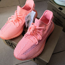 HKCP Pink 350 Shoes with AD logo yeezys air 350 boost v2 women running shoes Lace-up sneakers breathable Men yeezys sneaker(China)