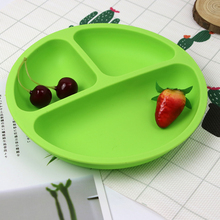 Baby Silicone Plate childrens dishes baby Sucker Bowl Lovely Smile Face Lunch Tableware Set  Mats