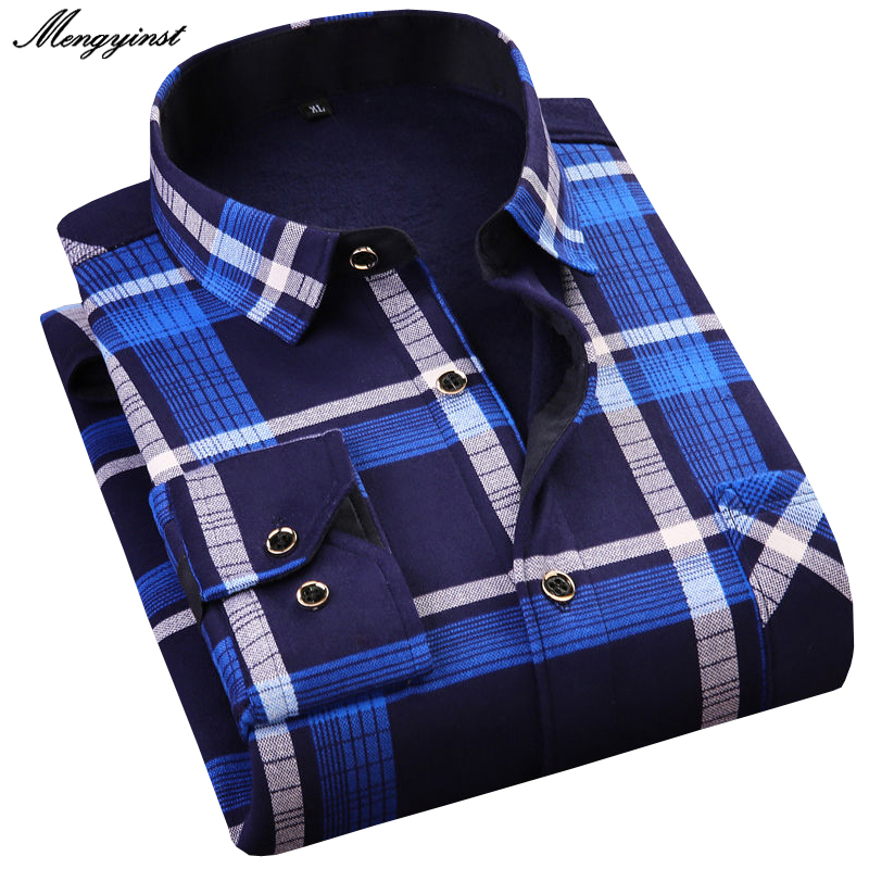 Men Winter Long Sleeve Dress Shirts 2020 Male Cotton Business Casual Thicking Warm Flannel Camisa Social Masculina Plaid Shirts