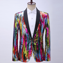 Suit Jacket Sequin Blazer Mens Stage Party Dress Wedding-Costume Performance Homme Colorful