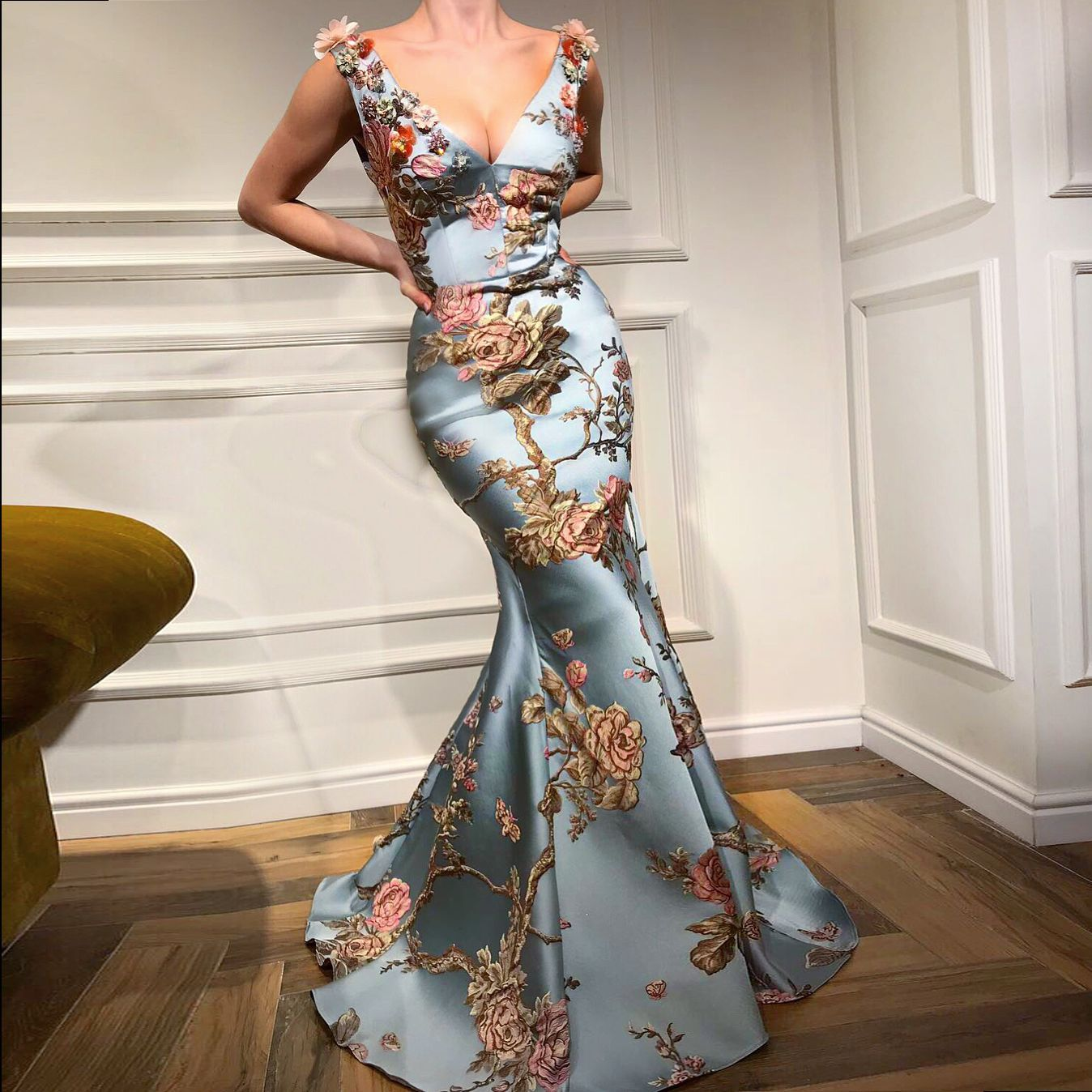 Elegant Floral Print Woman Trumpet Dress 2019 Spring Summer Sexy V Neck Party Dress to the Floor Vintage Club Vestido