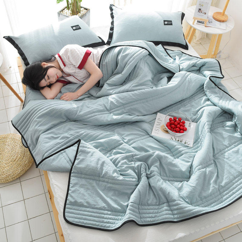 Summer Washed Cotton Air-conditioning Quilt Soft Breathable Blanket Thin Solid Color Comforter Bed Cover Coverlet Bed