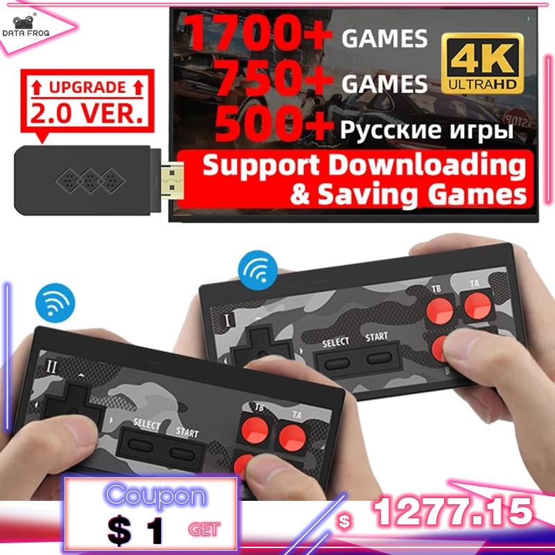 נתונים צפרדע USB אלחוטי כף יד טלוויזיה וידאו קונסולת לבנות 1700 משחקים עבור NES רטרו Dendy קונסולת נייד רטרו משחק מקל
