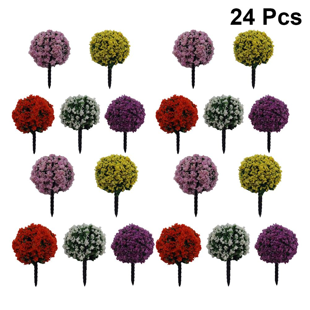 24pcs Flower Tree Adornment Creative Unique Vivid DIY Landscape Ornament Scenery Model Flower Tree For Home Bedroom Living Room