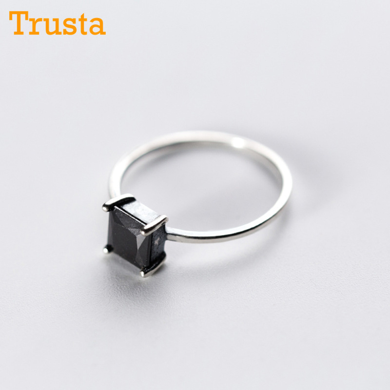 Trustdavis 100% 925 Sterling Silver Fashion Jewelry Cute Black Square Cocktail Ring For Party Women Fine S925 Ring Jewelry DS430