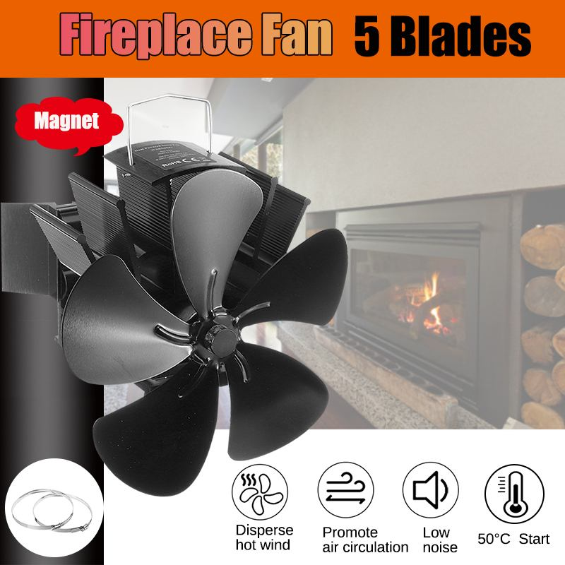 Upgrade 5 Blade Black Fireplace Heat Powered Stove Fan Log Wood Burner Eco Friendly Quiet Fan Home Efficient Heat Distribution