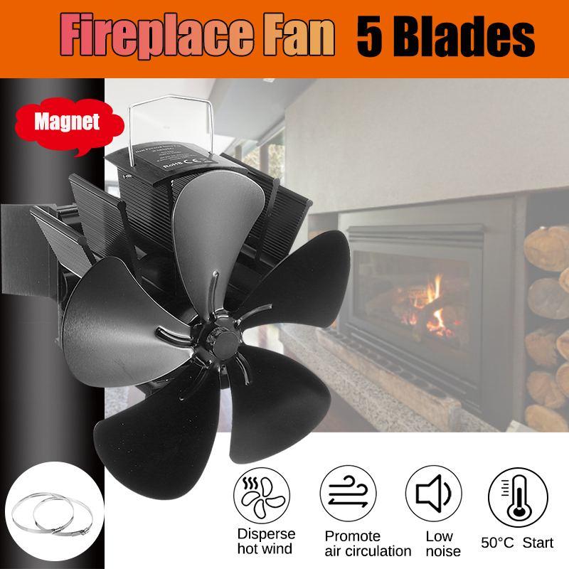 Upgrade 5 Blade Black Fireplace Heat Powered Stove Fan Log Wood Burner Eco Friendly Quiet Fan Home Efficient Heat Distribution