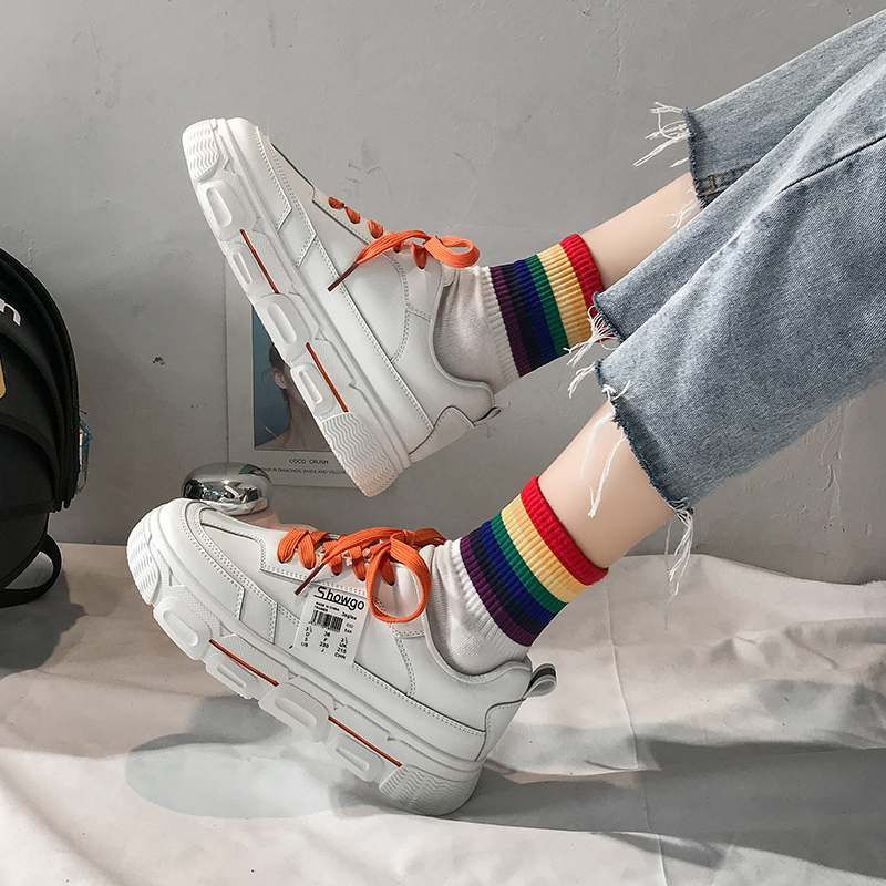Women Platform Sneakers Korean Fashion PU Leather Trainers Womens Chunky Sneakers Tenis Female 2020 Spring Lace Up Casual Shoes