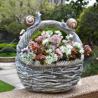 Pastoral Resin Snail Flowerpot Decoration Outdoor Courtyard Furnishings Garden Balcony Lawn Artificial Flower Figurines Craft
