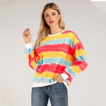 Women's Casual Style Drop Shoulder Long Sweatshirt Pullovers Rainbow Sweatshirt for Women Striped Streetwear  Kpop Fashion striped hem sweatshirt