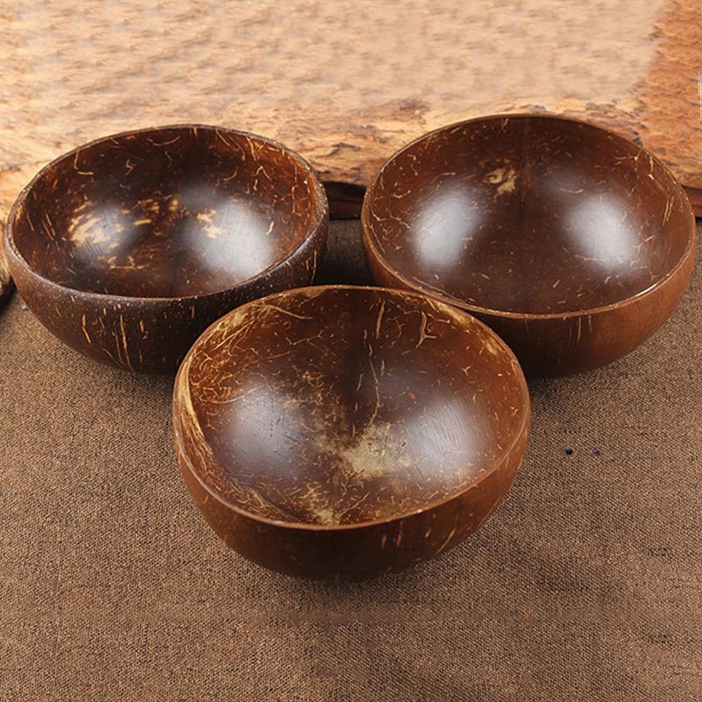 TOSSPER Creative Natureal Coconut Bowl Eco Friendly Soup Salad Noodle Rice Bowl Wooden Fruit Bowls Handicraft Art Work Decoration Random Colour