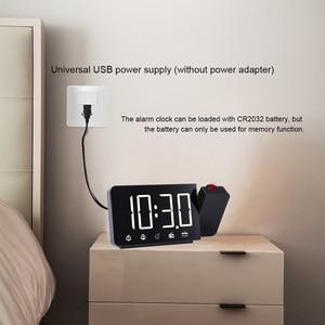 Image 3 - Zegar alarmowy cyfrowe elektroniczne zegary stołowe z funkcją drzemki Radio FM głośny zegarek LED z projekcją czasu