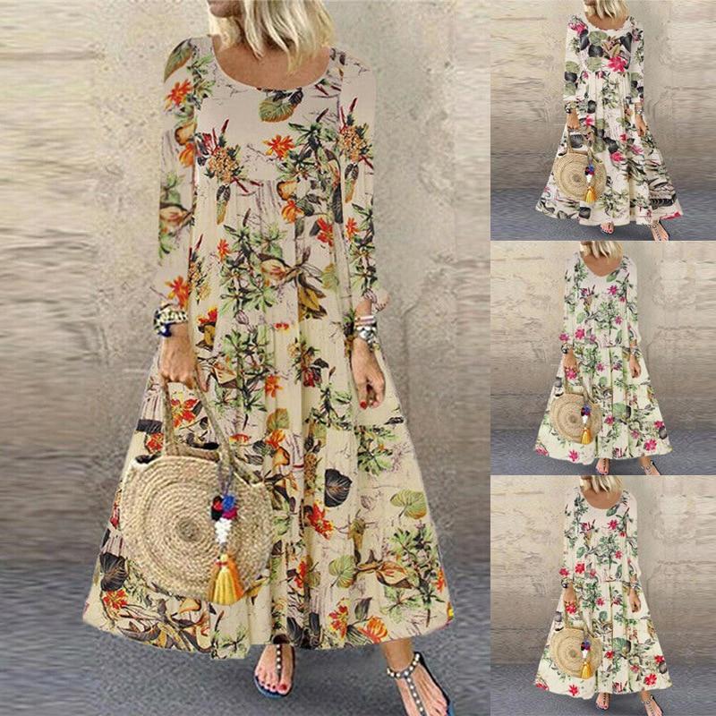 Women Vintage Flroal Printed plus size long sleeve Autumn Casual Pacthwork Dress Robe Femme bohemian Sundress Dresses