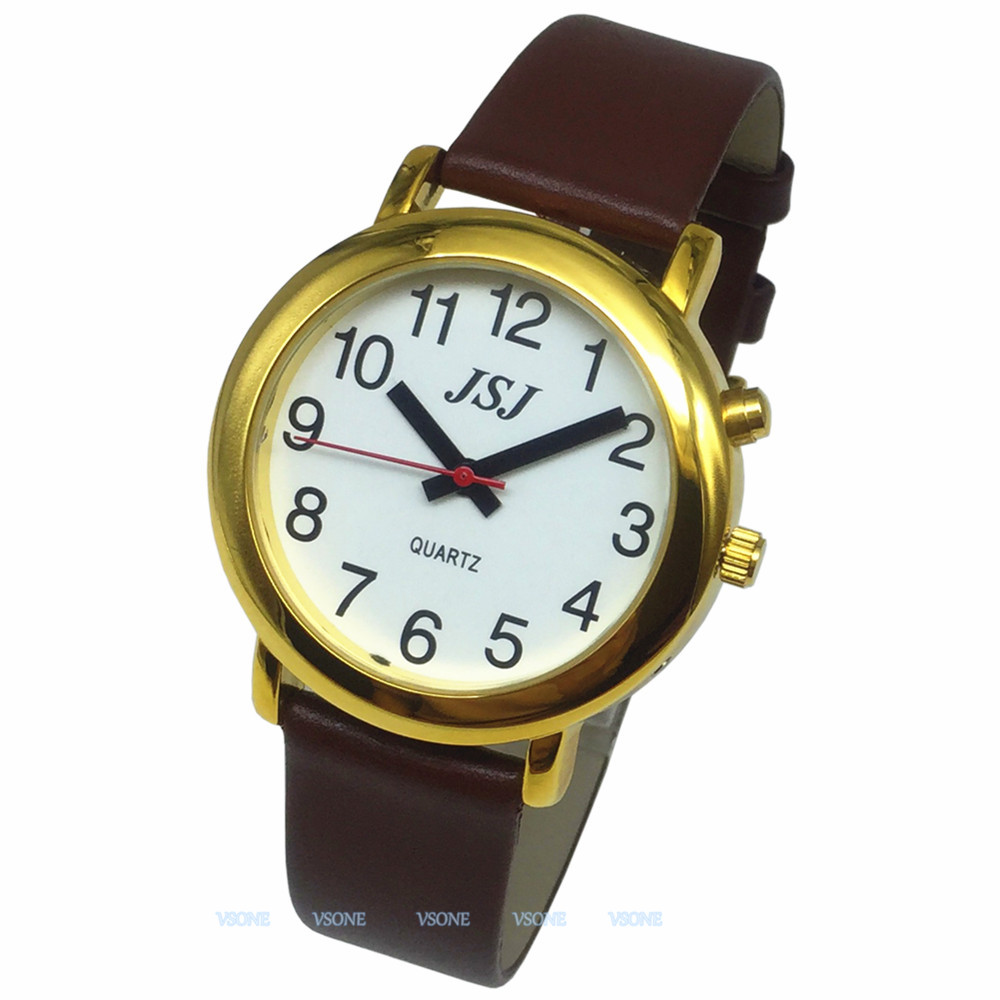 English Talking Watch With Alarm Function, Talking Date And Time, White Dial, Brown Leather Band, Golden Case TAG-506