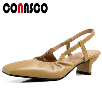 CONASCO 2020 Summer New Elegant Concise Casual Genuine Leather Women Sandals Pumps Narrow Band Pleated Thick Heels Shoes Woman