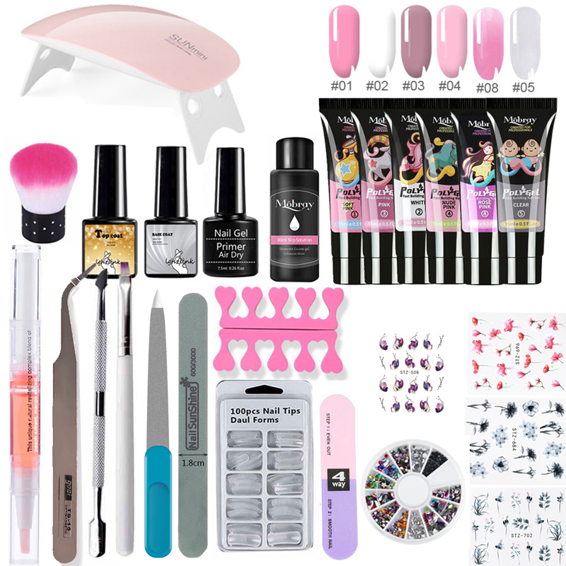 26pcs/kit Nail Extension Polygel Set Gel Polish Lamp Nail Brush Nail Primer Top Coat Base Natural Hard Jelly Acrylic Polygel Set