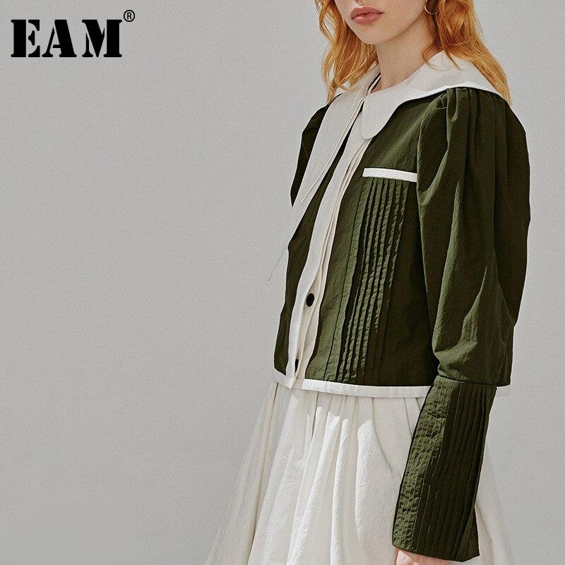 [EAM] Loose Fit Green Pleated Split Joint Short Jacket New Lapel Long Lantern Sleeve Women Coat Fashion Tide Spring 2020 1R097