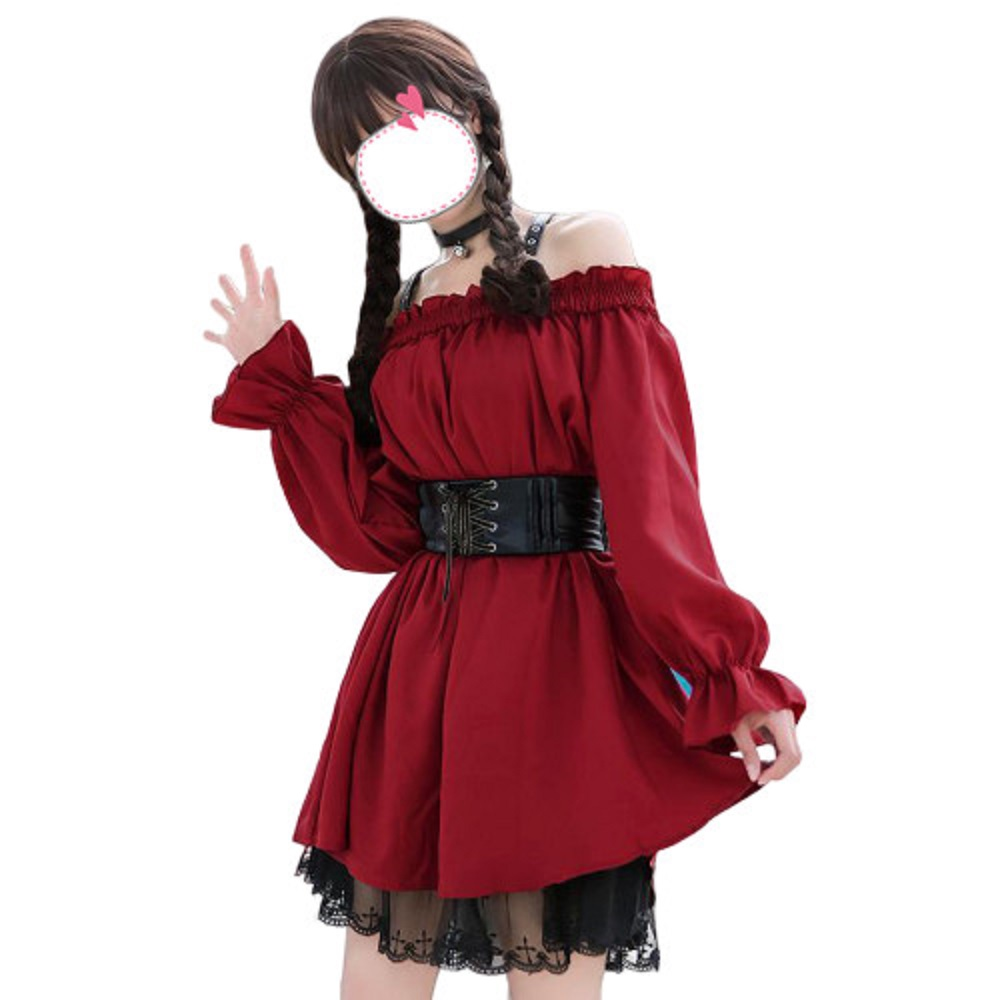 Japanese Lolita Adult Cosplay Costume Hard Girl Style Strapless Slim Waist Sweet Lace Dress Retro Dark Girl Slim Dress