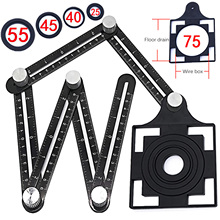 Construction Tools Six Fold Ruler Tile Opening Locator Mud Tile Shop Paste Floor Tiles Glass Vientiane Universal Hole Punch Tool