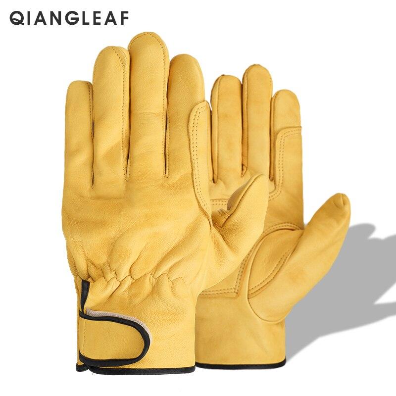 Qiangleaf nova marca frete grátis mecânico de segurança dos homens luva trabalho couro pele carneiro luvas trabalho industrial atacado 527my