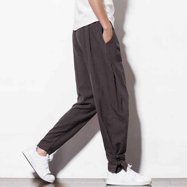 110 KG Soft Solid Gray Joggers Men Sweatpants Chinese Style Mens Trousers Large Size Thick Harem For Big Man Flare Pants 6