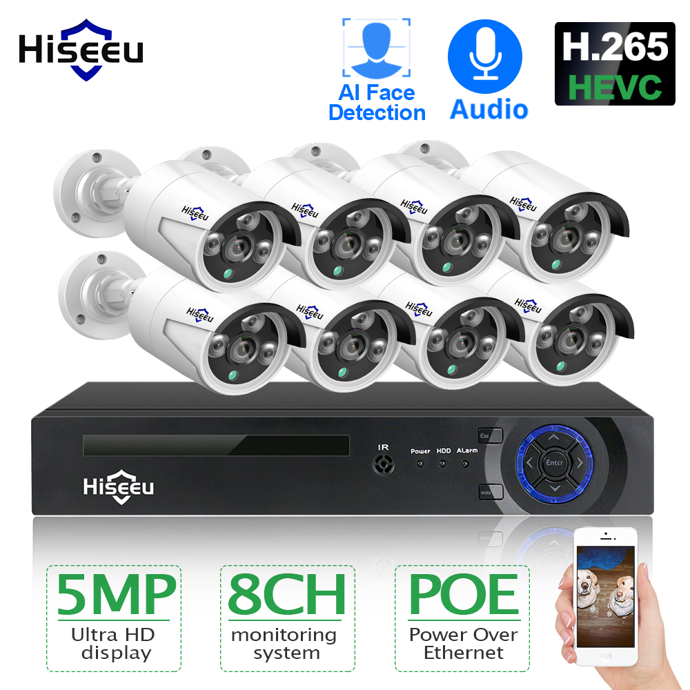 Hiseeu H 265 8CH 5MP POE Security Camera System Kit AI Face Detection Audio Record IP Camera IR CCTV Video Surveillance NVR Set