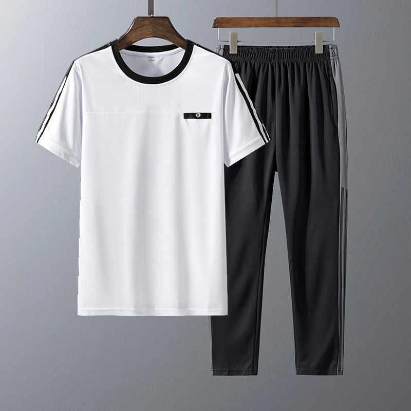 אימונית זכר 2020 קיץ גברים בגדי ספורט סט מוצק צבע גברים מכנסיים + T חולצה מהיר ייבוש גברים של חליפה 2 חתיכות סטים